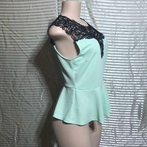 Mint Green Peplum Crochet Lace Bib Keyhole Blouse